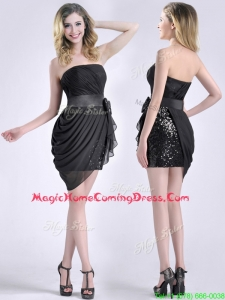Lovely Column Bowknot Short Homecoming Dress in Chiffon and Sequins