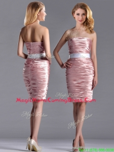 Lovely Column Peach Homecoming Dress with Ruching and White Belt