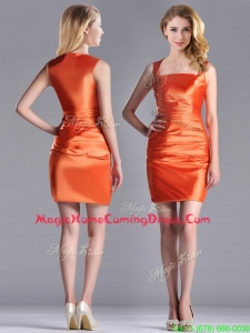 Lovely Column Square Side Zipper Short Homecoming Dress in Orange Red