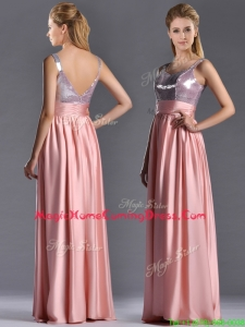 Lovely Empire Straps Zipper Up Peach Homecoming Dress with Sequins