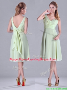 Lovely Tea Length Ruched and Belted Homecoming Dress in Yellow Green