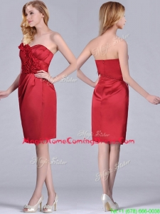 Low Price Red Column Satin Knee Length Homecoming Dress with Ruffles