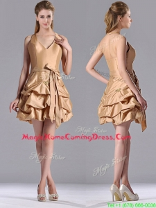 Most Popular Halter Top Champagne Homecoming Dress with Bubbles and Bowknot