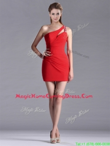 New Arrivals Side Zipper One Shoulder Red Homecoming Dress with Beading