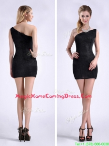 New Style Black One Shoulder Column Homecoming Dress with Zipper Up