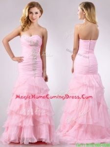 Popular Brush Train Organza Pink Homecoming Dress with Beading and Ruffles