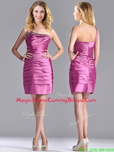 Popular Column Taffeta Homecoming Dress Beaded Decorated One Shoulder