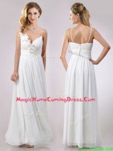 Popular Spaghetti Straps Applique and Ruched Homecoming Dress in White