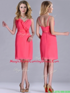 Popular V Neck Zipper Up Short Homecoming Dress in Coral Red