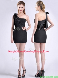 Sexy Column One Shoulder Bowknot Black Homecoming Dress in Satin