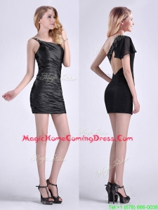 Sexy Criss Cross Beaded Black Short Homecoming Dress with One Shoulder