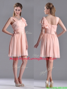Simple Empire Ruched Peach Homecoming Dress with Asymmetrical Neckline