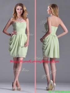 Simple Zipper Up Chiffon Yellow Green Homecoming Dress with Ruching