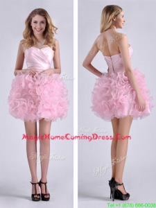 Sweet Ball Gown Ruched Baby Pink Short Homecoming Dress in Rolling Flowers