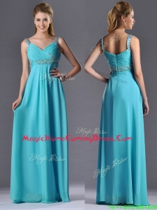 Beautiful Empire Aqua Blue Long Homecoming Dress with Beading and Ruching