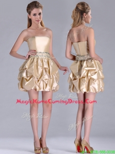 Beautiful Strapless Beaded and Bubble Short Homecoming Dress in Champagne