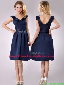 Beautiful V Neck Navy Blue Empire Homecoming Dress with Cap Sleeves
