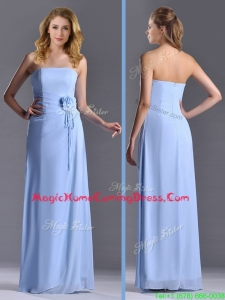 Cheap Strapless Hand Crafted Flower Long Homecoming Dress in Light Blue