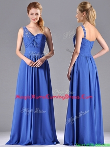 Column Chiffon Beading and Ruching Blue Homecoming Dress with One Shoulder