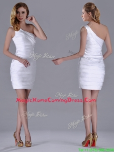 Column One Shoulder Ruched White Short Homecoming Dress for Homecoming
