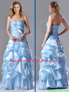 Column Sweetheart Long Light Blue Beaded Ruched Homecoming Dress in Organza