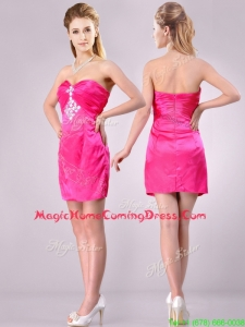 Discount Applique with Beading and Rhinestoned Homecoming Dress in Hot Pink