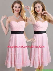 Discount Empire Pleated and Black Belted Homecoming Dress in Baby Pink