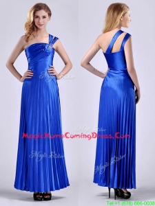 Discount Royal Blue Ankle Length Homecoming Dress with Beading and Pleats