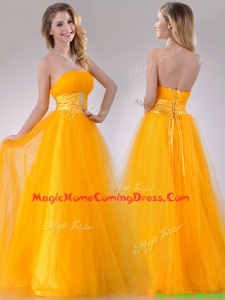 Elegant A Line Beaded Tulle Gold Homecoming Dress with Lace Up