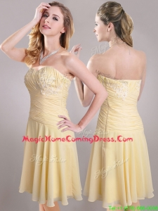 Elegant Applique Chiffon Yellow Short Homecoming Dress with Side Zipper