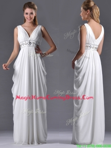 Elegant Empire V Neck Chiffon White Homecoming Dress for Graduation