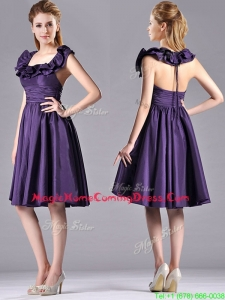 Elegant Halter Top Backless Short Homecoming Dress in Dark Purple