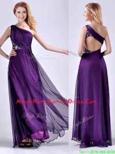 Elegant One Shoulder Criss Cross Purple Homecoming Dress with Beading