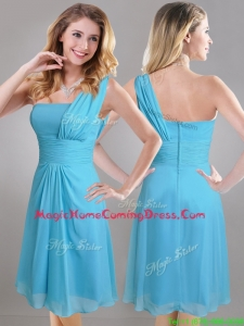 Elegant One Shoulder Ruched Chiffon Homecoming Dress in Aqua Blue