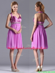 Empire Halter Knee-length Beaded Short Homecoming Dress in Lilac