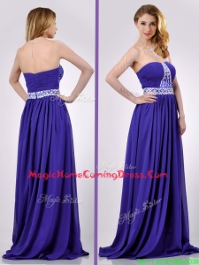 Empire Strapless Beaded Purple Long Homecoming Dress for Evening