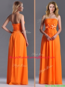 Empire Strapless Ruching Chiffon Long Homecoming Dress in Orange