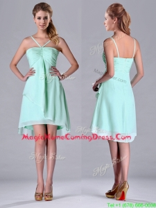 Empire Straps Apple Green Ruching Short Homecoming Dress in Chiffon