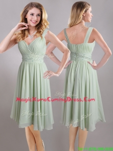 Exclusive Beaded and Ruched Apple Green V Neck Homecoming Dress in Chiffon