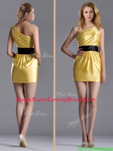 Exclusive One Shoulder Ruched and Belted Homecoming Dress with Side Zipper