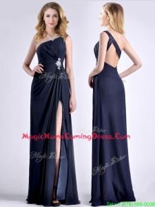 Exquisite One Shoulder Navy Blue Homecoming Dress with Beading and High Slit