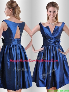 Exquisite Open Back Hand Crafted Flower Homecoming Dress in Royal Blue