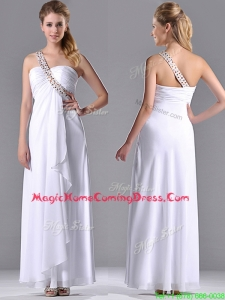 Fashionable Empire One Shoulder Chiffon Side Zipper White Homecoming Dress with Beading