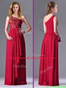 Fashionable Empire One Shoulder Sequins Red Homecoming Dress with Side Zipper