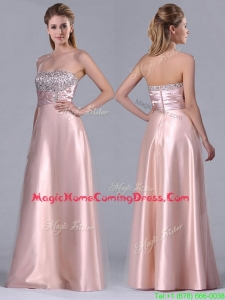 Fashionable Strapless Peach Long Homecoming Dress with Beaded Bodice