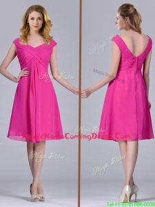 Hot Pink Empire Knee-length Chiffon Ruching Short Homecoming Dress for Graduation