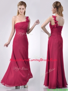 Hot Sale One Shoulder Red Homecoming Dress with Appliques and Ruching