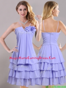 Hot Sale Ruffled Layers and Handcrafted Flower Homecoming Dress in Lavender