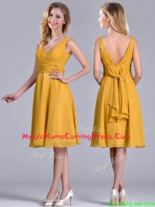 Latest Empire V Neck Ruched Gold Homecoming Dress in Chiffon