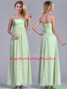 Latest Strapless Yellow Green Chiffon Homecoming Dress in Ankle Length